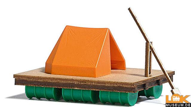 Floß mit Zelt
