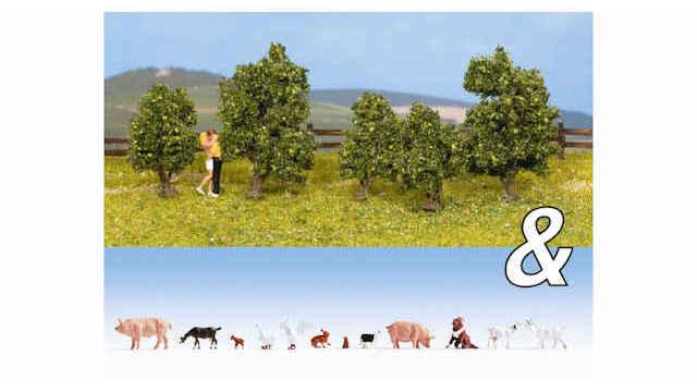 Set Tiere Bauernhof Sträucher