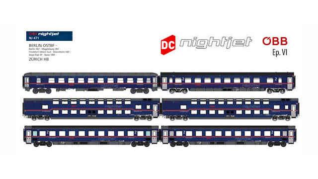 Personenwagenset NIGHTJET ÖBB Berlin-Zürich