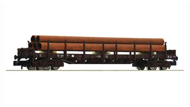 Rungenwagen mit Rohrbeladung der DSB